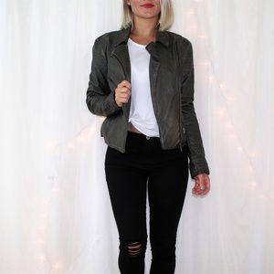 BB Dakota Faux Leather Taupe Moto Jacket
